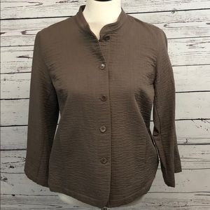 Tops - Eileen Fisher Top Size Small Brown Button Up
